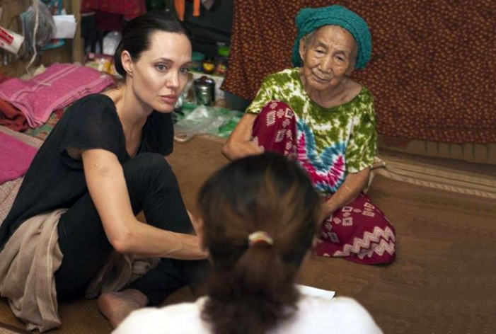 UN refugee agency envoy Angelina Jolie visits displaced people in Myanmar's Kachin state